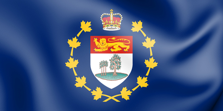 3D Flag of Lieutenant Governor of Prince Edward Island, Canada. 3D Illustration.