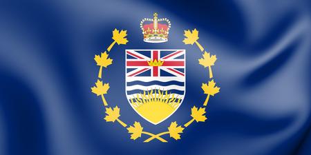 3D Flag of Lieutenant-Governor of British Columbia, Canada. 3D Illustration.