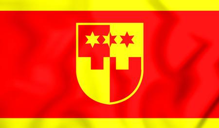 3D Flag of Krapina-Zagorje County, Croatia. 3D Illustration.