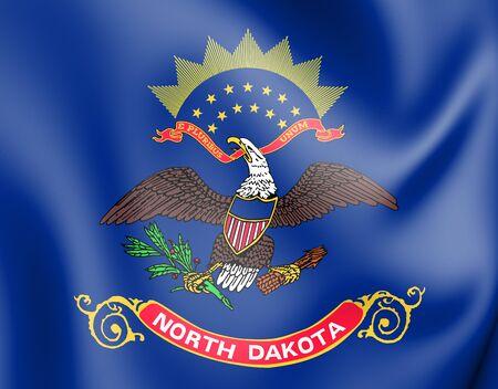3D Flag of North Dakota, USA. 3D Illustration.
