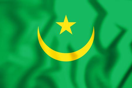 3D Flag of Mauritania. 3D Illustration.