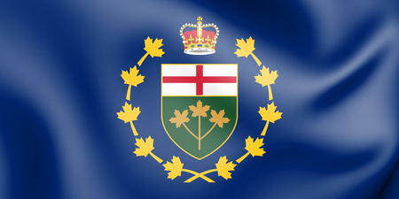3D Flag of Lieutenant Governor of Ontario, Canada. 3D Illustration. Stock Photo