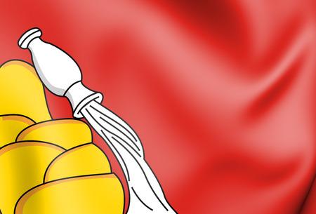 3D Flag of Voronezh Oblast, Russia. 3D Illustration.    Stock Photo