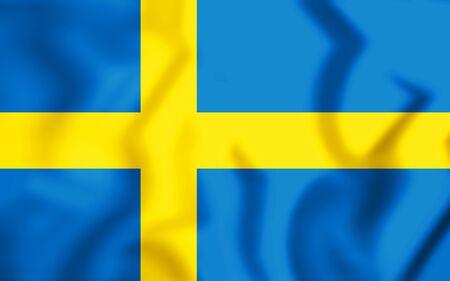 3D Flag of Sweden. 3D Illustration.