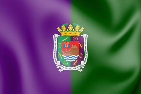 3D Flag of Malaga City, Spain. 3D Illustration. Stock Photo