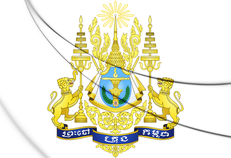 3D Cambodia Coat of Arms. 3D Illustration.