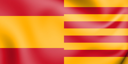 3D Flags of Spain and Catalonia. 3D Illustration.