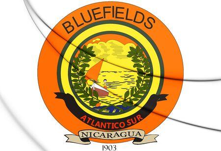 3D Seal of Bluefields, Nicaragua. 3D Illustration. Banco de Imagens