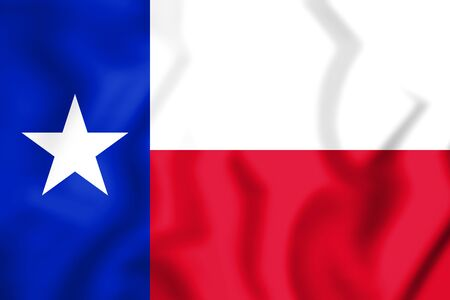 3D Flag of Texas, USA. 3D Illustration.