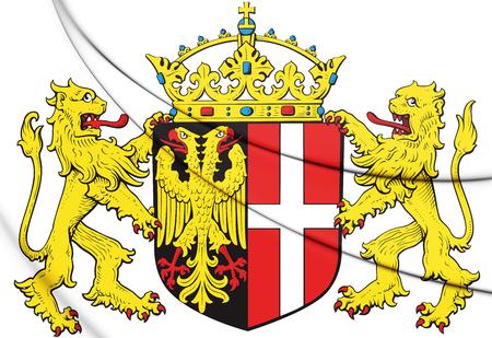 3D Neuss coat of arms (North Rhine-Westphalia), Germany. 3D Illustration.