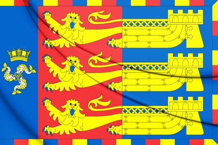 3D Flag of Lord Warden of the Cinque Ports. 3D Illustration.