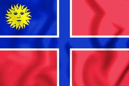 3D Flag of State of Muskogee. 3D Illustration.    版權商用圖片