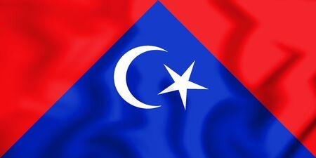 3D Flag of Tangkak (Johor), Malaysia. 3D Illustration.