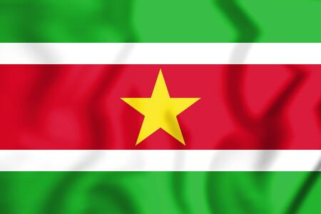 3D Flag of Suriname. 3D Illustration. Stock Photo