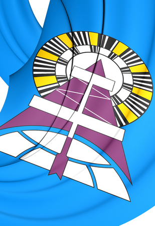3D Flag of Noyabrsk (Yamalo-Nenets Autonomous Okrug), Russia. 3D Illustration. Stock Photo