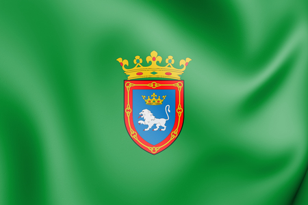3D Flag of Pamplona (Navarre), Spain. 3D Illustration. Stock Photo