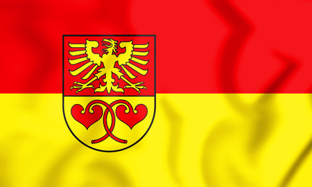 3D Flag of Rietberg (North Rhine-Westphalia), Germany. 3D Illustration.
