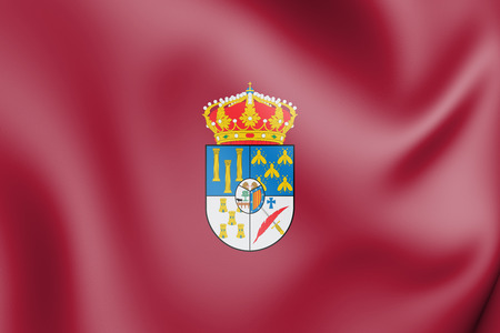3D Flag of Salamanca Province, Spain. 3D Illustration.