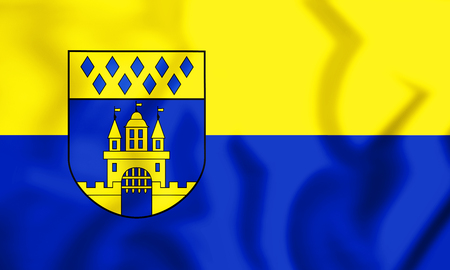 3D Flag of Steinfurt (North Rhine-Westphalia), Germany. 3D Illustration.    Stock Photo
