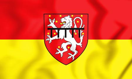 3D Flag of Stolberg (North Rhine-Westphalia), Germany. 3D Illustration. Stock Photo