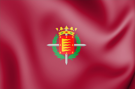 3D Flag of Valladolid City, Spain. 3D Illustration. Stock Photo