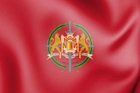 3D Flag of Valladolid Province, Spain. 3D Illustration.