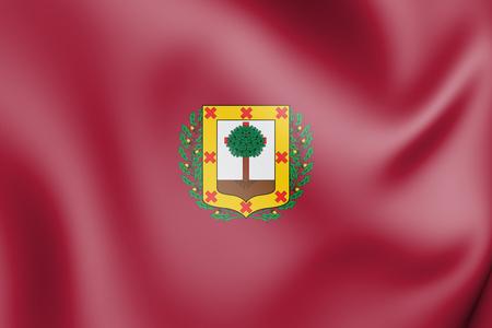 3D Flag of Biscay Province, Spain. 3D Illustration.