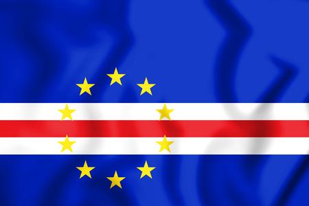 3D Flag of Cape Verde. 3D Illustration. Stock Photo