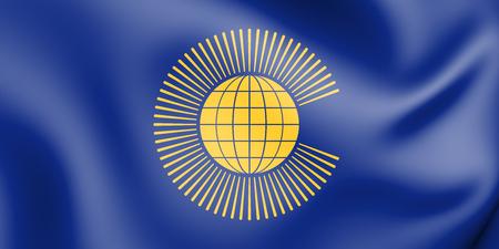 Drapeau 3D du Commonwealth des Nations. Illustration 3D. Banque d'images - 94505013