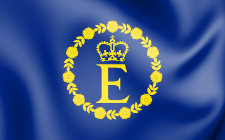 3D Flag of EIIR. 3D Illustration.