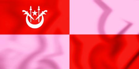 3D Flag of Gua Musang (Kelantan), Malaysia. 3D Illustration.