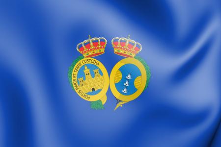 3D Flag of Huelva Province, Spain. 3D Illustration.