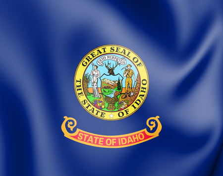 3D Flag of Idaho, USA. 3D Illustration.
