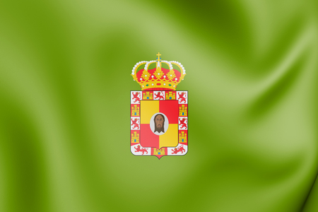 3D flag of Jaen Province, Spain. 3D Illustration.