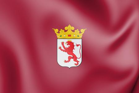 3D Flag of Leon Province, Spain. 3D Illustration.