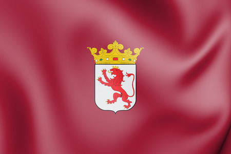 3D Flag of Leon Province, Spain. 3D Illustration.