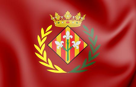 3D Flag of Lleida City, Spain. 3D Illustration.