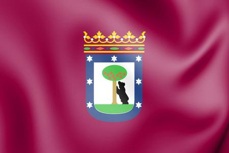 3D Flag of Madrid, Spain. 3D Illustration.