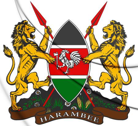 3D Kenia Wapenschild. 3D Illustratie.