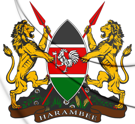 3D Kenya Coat of Arms. 3D Illustration. Reklamní fotografie