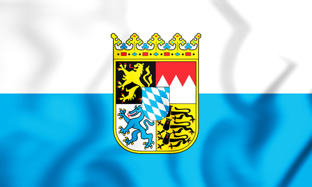 3D Flag of Bavaria, Germany. 3D Illustration.