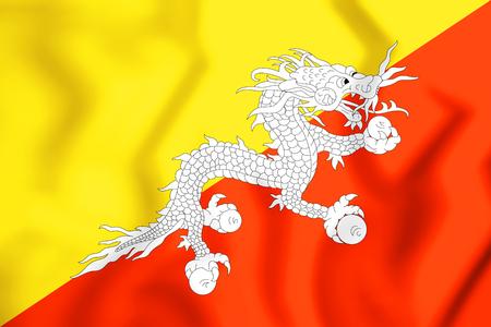 3D Flag of Bhutan. 3D Illustration. Stock Photo