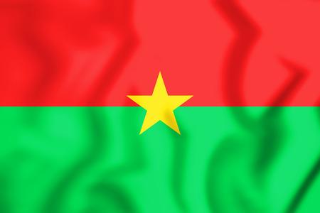 3D Flag of Burkina Faso. 3D Illustration.