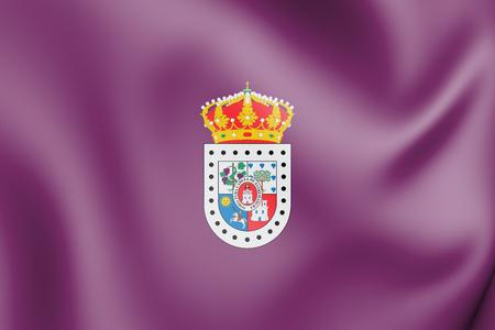 3D Flag of Soria Province, Spain. 3D Illustration. Standard-Bild