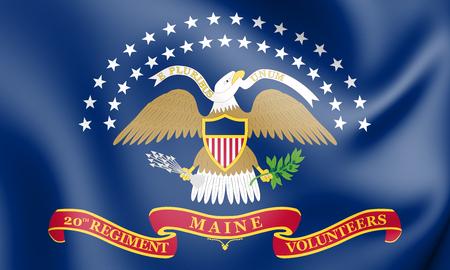 The 20th Maine Volunteer Infantry Regiment Flag. 3D Illustration.   Stok Fotoğraf
