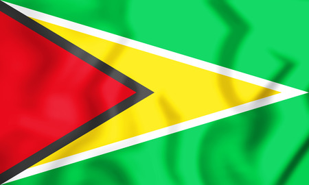 3D Flag of Guyana. 3D Illustration. Stock Photo