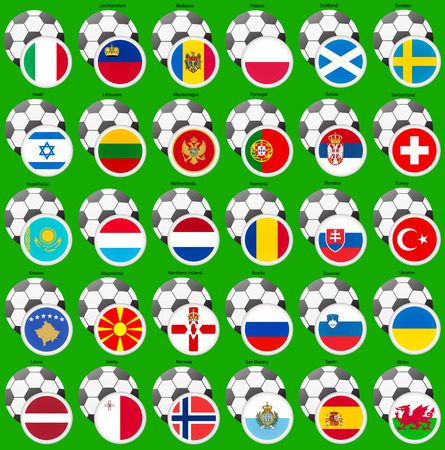 A set of icons with flags of the european countries. Football theme.