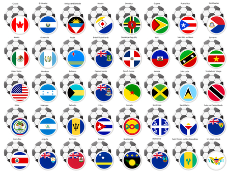 A set of icons with flags of the North and Central America countries. Football theme.   Illustration
