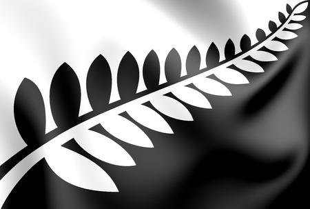 Silver Fern (Black and White) Flag, Proposal Flag New Zealand. 3D Illustration.
