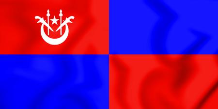 3D Flag of Tumpat (Kelantan), Malaysia. 3D Illustration.